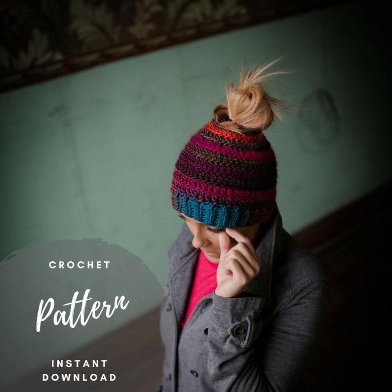 097b7e18485 Bun Beanie Pattern Crochet Messy Bun Ponytail Hat Pattern
