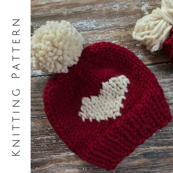 Knit Heart Hat Valentine s Day Hat Heart Beanie Pattern  480e4b200ba