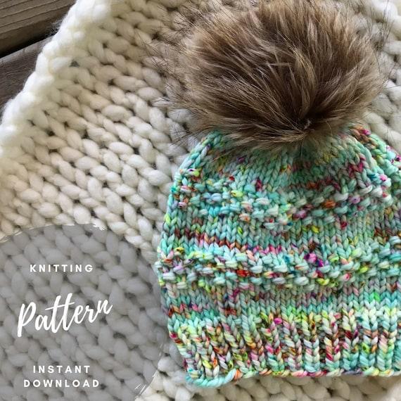 fdb0563b7 Knit Hat Pattern, Pom Pom Hat Pattern, Slouchy Beanie, Seed Stitch, One  Skein Pattern, Atticus Beanie, PDF Knitting Tutorial, Bulky Yarn