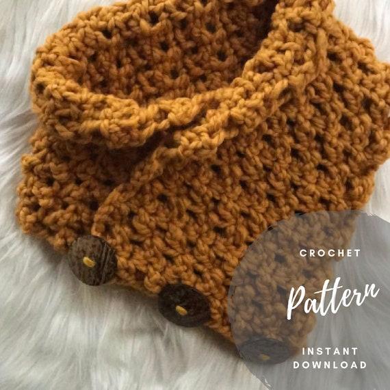 Crochet Scarf Pattern Button Cowl Bulky Yarn Pattern Etsy