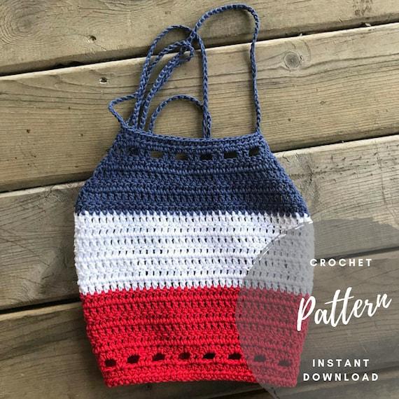 Crochet Halter Pattern Striped Crop Top Easy Crochet Etsy