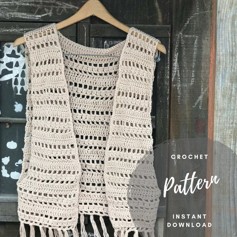 Crochet Vest Pattern Fringe Vest Pattern Crochet Cover Up Etsy
