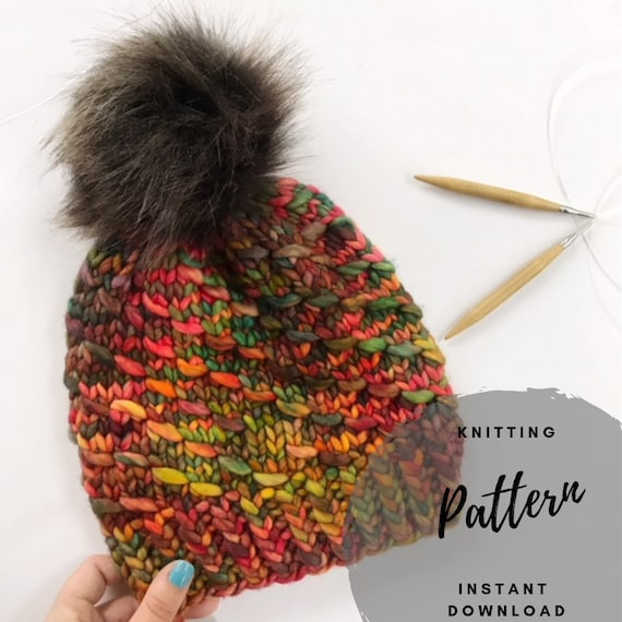 Chunky Knit Beanie Pattern Two In One Bun Beanie And Pom Etsy