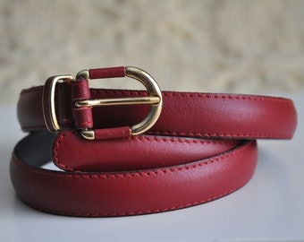Vintage 80s thin dark red leather belt, women's leather belt with a gold belt buckle, genuine leather, 110 cm / 43 inches