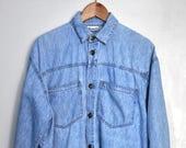 Vintage 90s Betty Barclay denim shirt, light blue denim shirt, oversized shirt, hipster shirt, Made in Italy