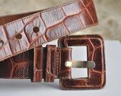Vintage 80s brown leather belt, stamped leather belt, large belt, high waist leather belt, chunky 80s leather belt