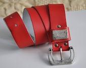 Vintage 90s red leather belt, genuine leather belt, silver metal belt buckle, hipster belt, jeans belt, 85 cm 35 inches