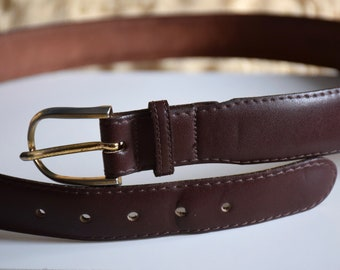 dark red high waist belt 85 cm  33.5 inches Vintage 80 burgundy real leather belt distressed leather belt hipster pants belt