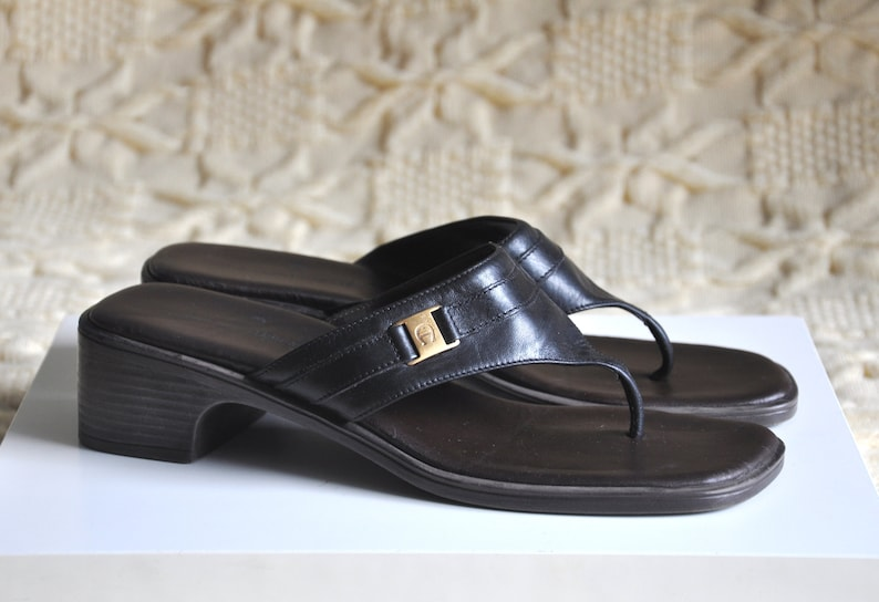 SandalsLow Vintage Heel Etienne Slide Toe 5 UsMade Brazil Leather Black Summer Aigner ShoesOpen 6 In SlidesThong 4jLSA35Rcq