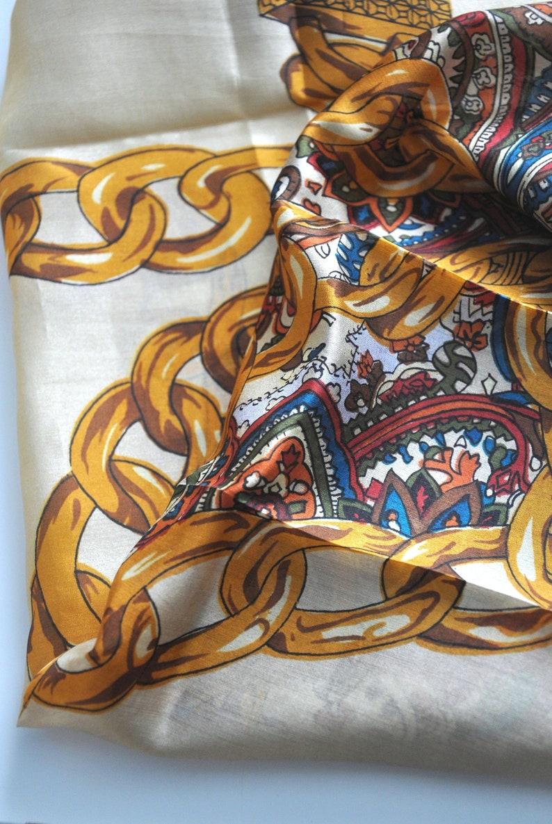 ddbe06290c2da7 Vintage paisley and gold chain print silk scarf square print