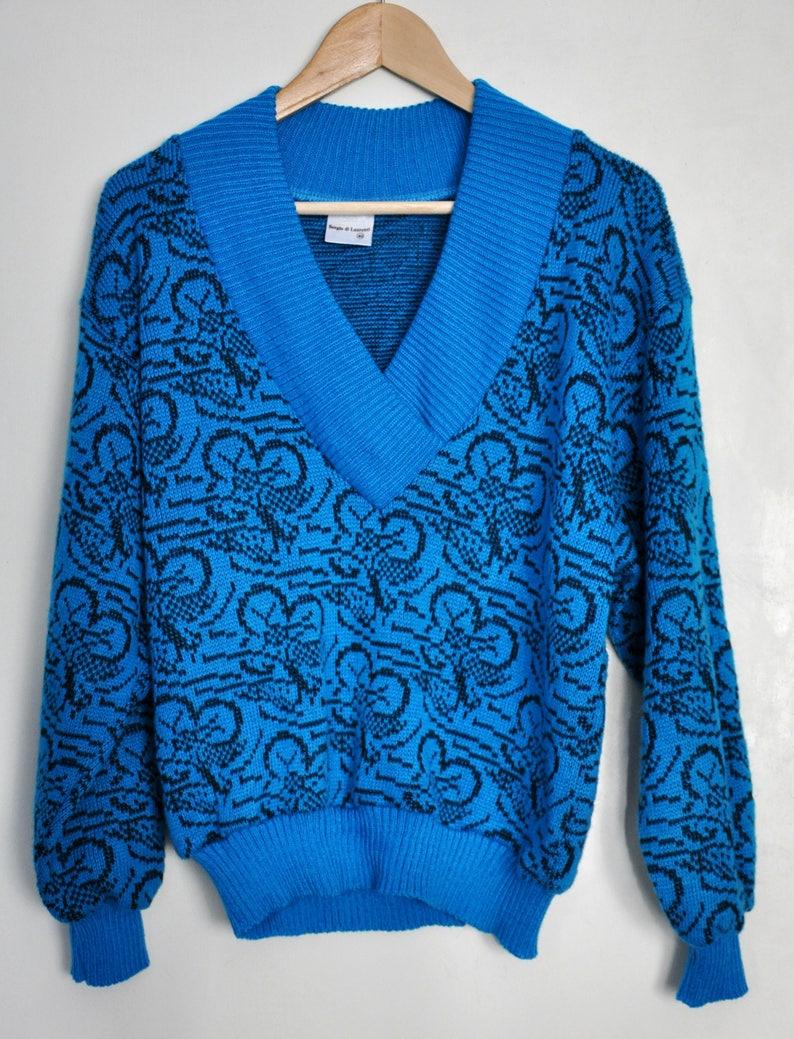 buy online 7f64e a15b5 80er Jahre V Hals Neon blau Pullover, Vintage Damen Pullover, blau und  schwarz Pullover, Muster Pullover, Acryl Pullover, Hipster Pullover, Größe M