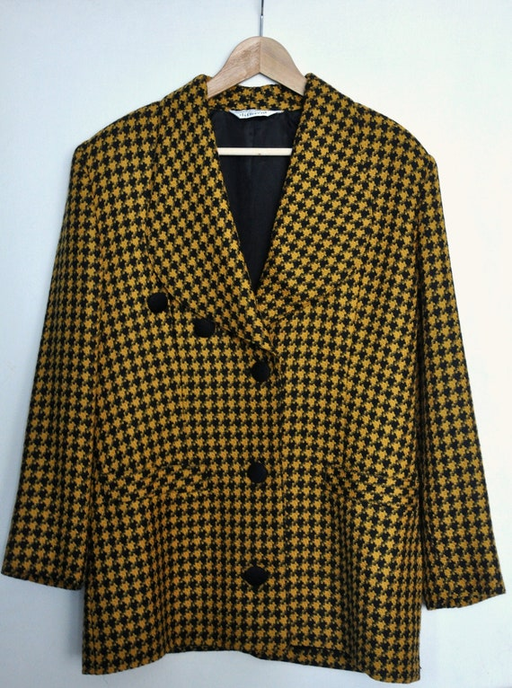 Vintage 90s pepita pattern black and yellow wool j