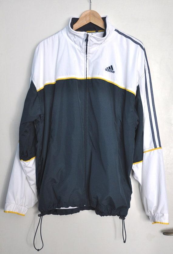 Veste de sport Adidas vintage des années 90, veste bleu blanc et jaune Adidas, veste hipster pour homme, veste zippée colorblock, 3 rayures Adidas, L