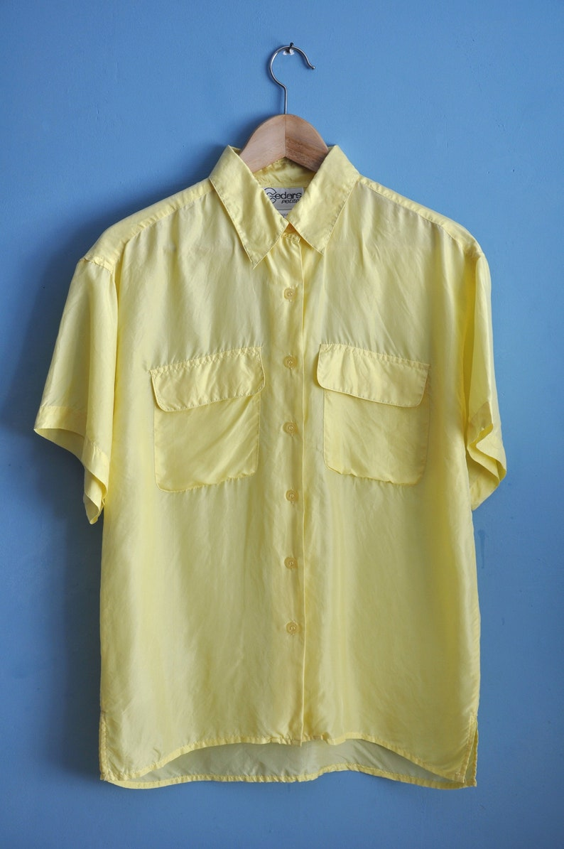 1cba6672ae4 Vintage 90s yellow oversized silk shirt button up short