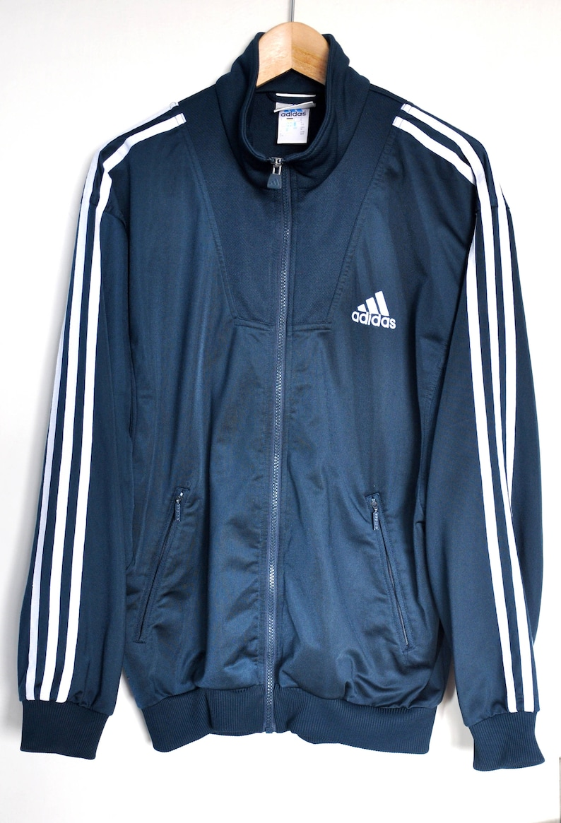 c303a1153819b Giacca Adidas Vintage degli anni ' 90, Adidas giacca verde e bianco, giacca  sportiva uomo, giacca, sportswear hipster, con zip Track 3 strisce Adidas