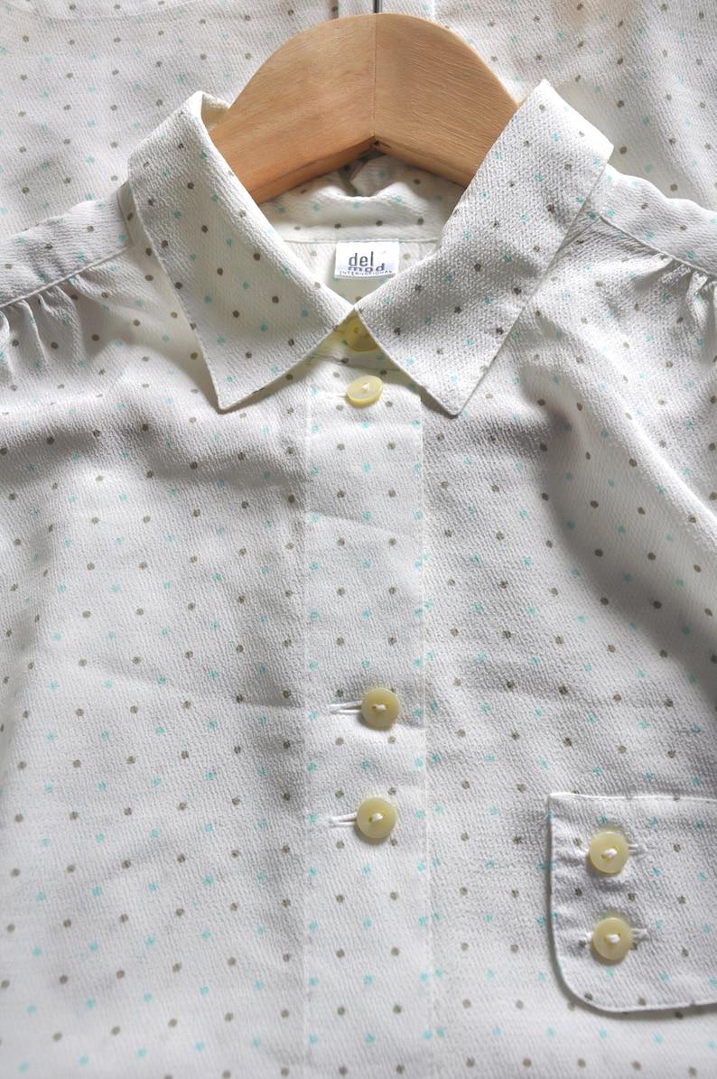 hipster polyester blouse L blue beige and white blouse Vintage 80s  90s polka dot pattern blouse long sleeve secretary blouse