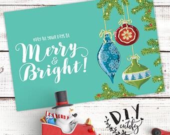 Christmas Card / Merry & Bright Christmas Card / Digital File / Printable Design / Christmas Card / DIY Printable