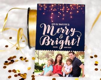 Custom Photo Christmas Card / Merry & Bright Christmas Card / Digital File / Printable Design / Christmas Card / DIY Printable