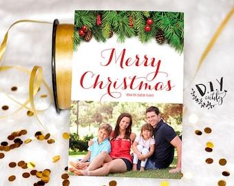 Custom Photo Christmas Card / Merry Christmas Card / Digital File / Printable Design / Christmas Card / DIY Printable