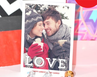 5x7 All you need is Love Digital Personalized Anniversary Card / Custom Photo & Text / Custom Envelope INCLUDED / Love Greeting Card