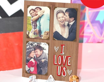 5x7 I Love Us Digital Personalized Anniversary Card/ Custom Photo & Text / Custom Envelope INCLUDED / DIY Printable / Love Greeting Card