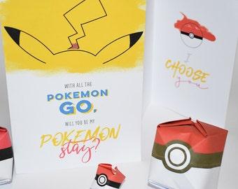 Pokemon Go Card / Pokemon Go Greeting Card / Free Pokemon Ball Origami / DIY Printable / Digital Download