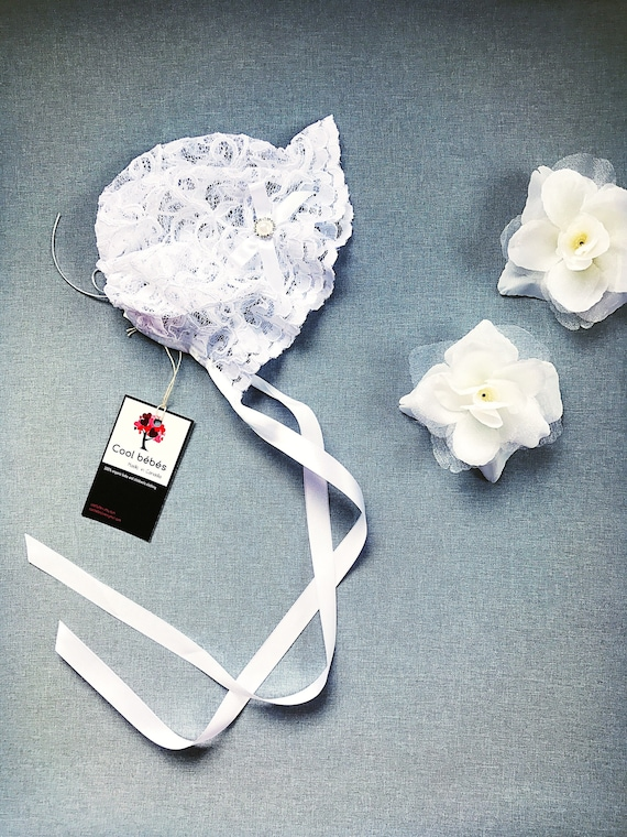 White Floral Satin Baby Bonnet with Satin Ribbon Bows and Ties