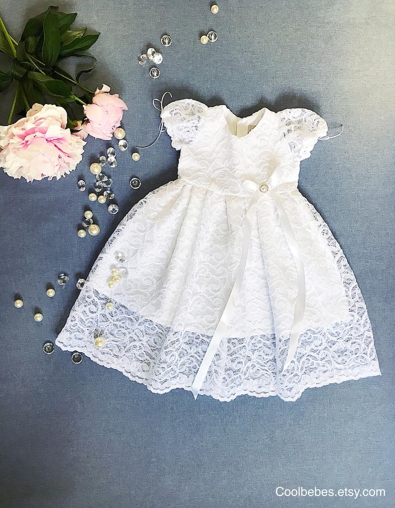 Venus baptismal dress organic cotton christening dress  02c153d48