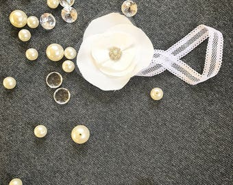 Silk flower headband, tulle headband, infant silk headband, baby headband, baptism headband, christening headband, rustic flower headband