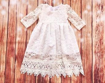 Selene ivory lace baptismal dress, organic cotton christening dress, christening gown, lace baby girl's baptism gown, ivory blessing dress