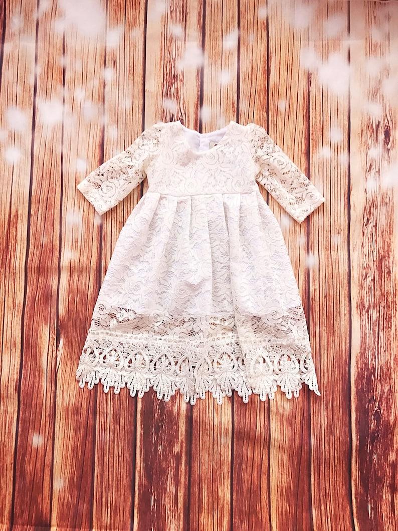 Selene ivory lace baptismal dress organic cotton christening  f2a24b268