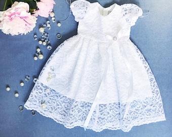 Venus baptismal dress, organic cotton christening dress, christening gown, lace baby girl's baptism gown, white church dress, lace dress