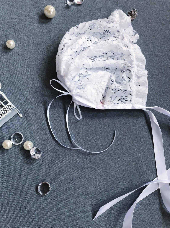 infant bonnet Harmonia white lace christening bonnet special occasion bonnet photography girl/'s bonnet white lacy bonnet baptism bonnet