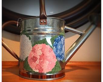 Pink hydrangea watering can, medium