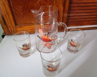 Pheasant Juice Pitcher and three glasses, Princess House
