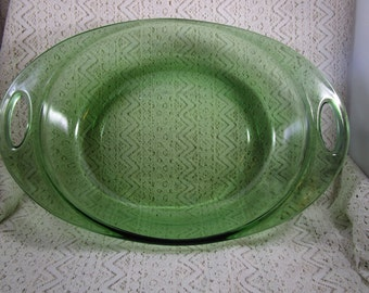 """Anchor Hocking Baking Dish, Open handles, 10"""" Oval, Green Baking Dish, Green Anchor Hocking"""
