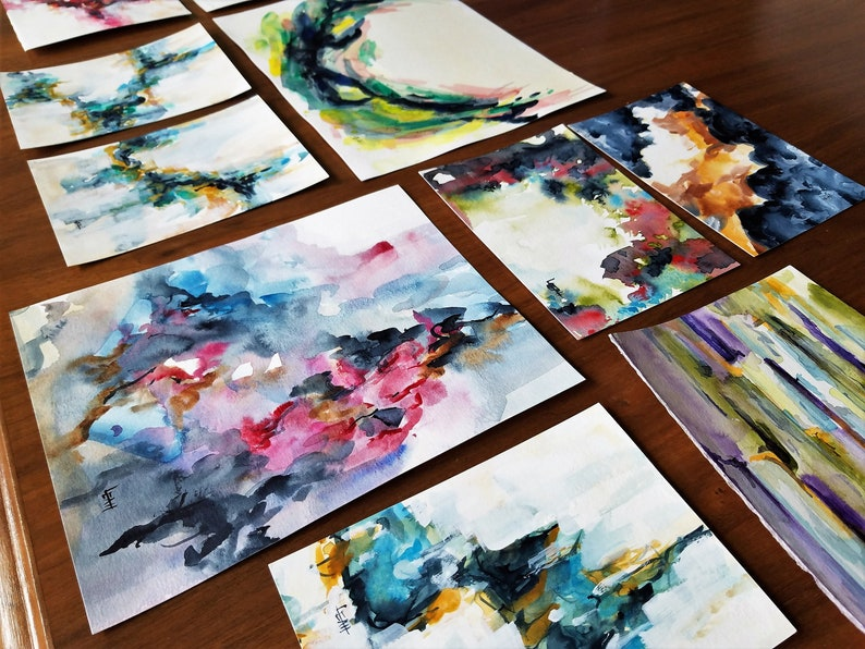Original 5x7 Abstract Modern Watercolor with texture