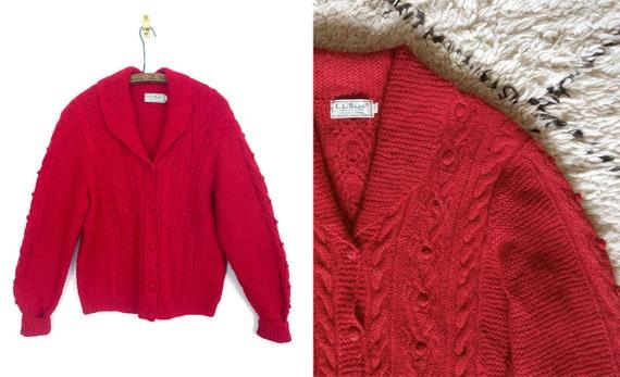 1980s LL Bean Irish Fisherman's Sweater / 80s red