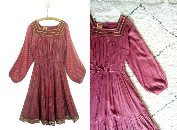 1970s Phool vintage dress /  Metallic dress / 1970