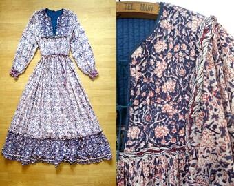 RESERVED Vintage Indian cotton maxi dress / 1970s indian gauze dress / bohemian indian dress / 70s vintage indian hippie dress