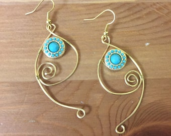 Gold Wirework Earrings With Turquoise Beaded Accents // Gifts For Her // Handmade Jewelry
