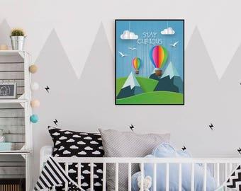 Bleiben Neugierig, Farbe Luft Ballon, Berge, 25x20cm, Wolken, Vögel,  Papierkunst, Stoff, Kinderzimmer, Mädchen, Junge, Dekor, Wandkunst, Digital  Download