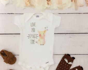 95280b529 Love You Pig Time, funny baby onesie, cute baby onesie, girl baby onesie, funny  baby onesies, funny boy onesie, farm onesies, baby onesie