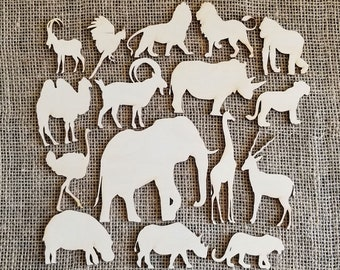 Set Of 16 Tropical Animals Cutouts Decor Jungle Decorations Safari Baby Shower Wooden Animal