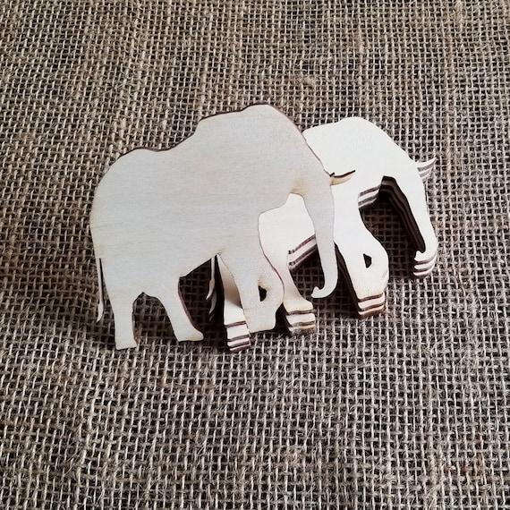 5 Pcs Wooden Elephants Elephant Cutouts For Crafts