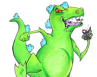 Reptar Art Print Poster A5 size