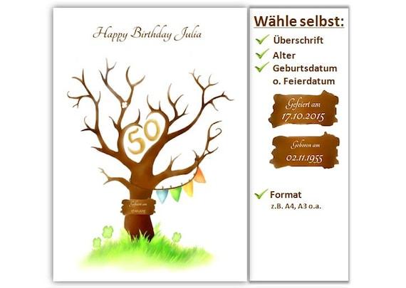 Fingerabdruck Baum Geburtstag Geschenk Gastebuch Etsy