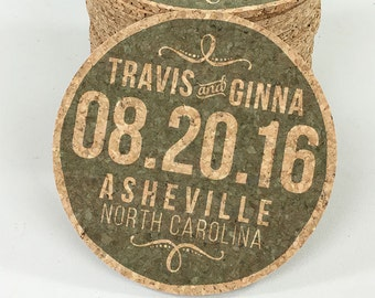 Modern Green Cork Coaster Wedding Favors Personalized with Names and Wedding Date // Wedding Reception Cork Coaster Favor