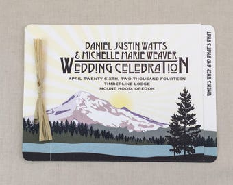Mt Vintage Sunset Landscape with Snowcap Mountains on the Lake Oregon Save the Date Hood Save the Date Wedding Announcement