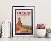 Palo Duro Vintage Travel Poster - Wedding Poster personalized with Names and date (frame not included)